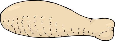 rindfleisch roh: Illustrated Einzel rohem Gefl�gelfleisch Drumstick cartoon