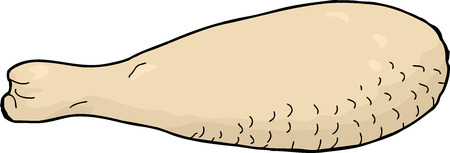 Isolated hand drawn raw chicken meat drumstick cartoon