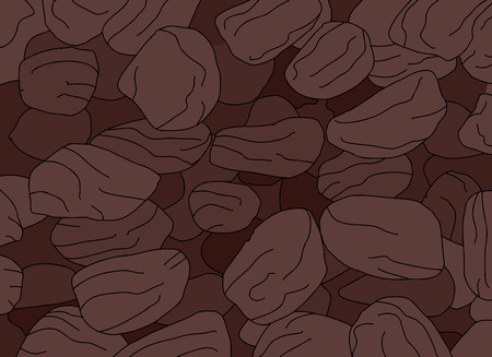 raisin: Hand drawn cartoon of group of packed raisins