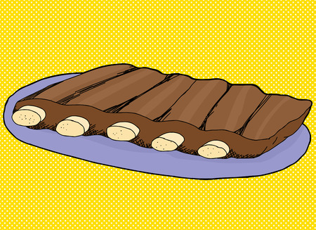 예비의: 블루 접시에 돼지 갈비의 손으로 그린 그림