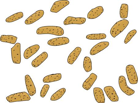 crunchy: Crunchy sesame sticks snacks scattered on white Illustration