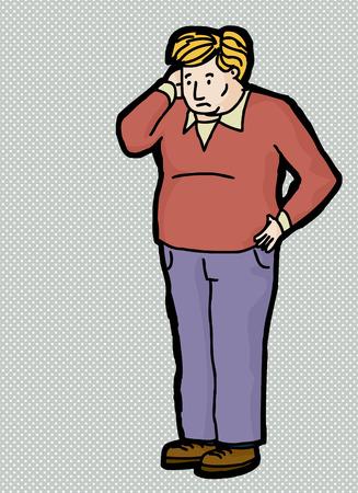 Cartoon of blond man scratching his head