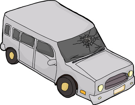 windshield: Isolated cartoon SUV automobile with fractured windshield Illustration