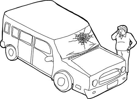 ispanico: Danneggiato parabrezza SUV e ispanico guardando confuso Vettoriali