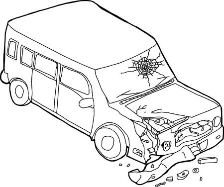 Cartoon outline of isolated damaged SUV car on white