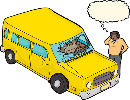 Man with thought bubble and yellow car with damaged windshield