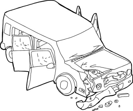 cartoon accident: Hand drawn cartoon of SUV car finder bender Illustration