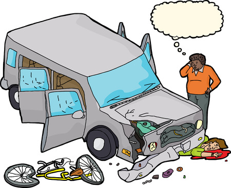 Scared driver looking at damaged car and bleeding bicyclist Ilustração