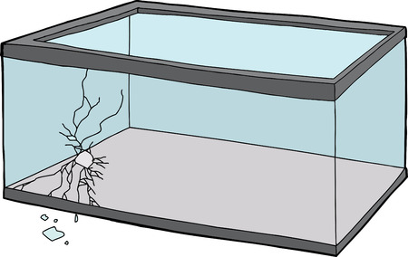cracked glass: Empty rectangular fish tank with cracked glass and hole Illustration