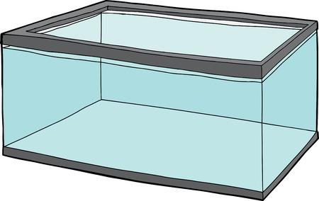 Single rectangular pet fish tank full of water