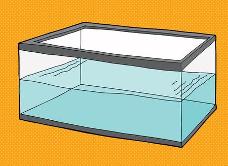 fish tank: Half full rectangular pet fish tank on orange background