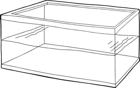 tank fish: Outlined half empty rectangular pet fish tank cartoon