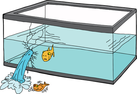 uncomfortable: Isolated cartoon of worried goldfish watching a fish die Illustration