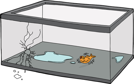 Suffocating goldfish flopping in empty fish tank Ilustração