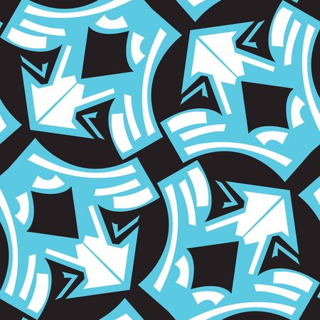 winged: Abstract winged arrows pattern in blue over black