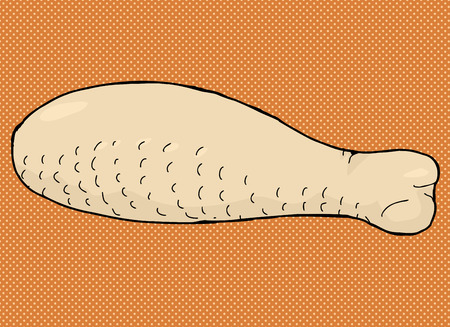 drumstick: Hand drawn raw poultry meat drumstick cartoon