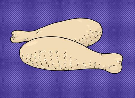 rindfleisch roh: Raw chicken meat drumstick Cartoon �ber blauem Hintergrund Illustration