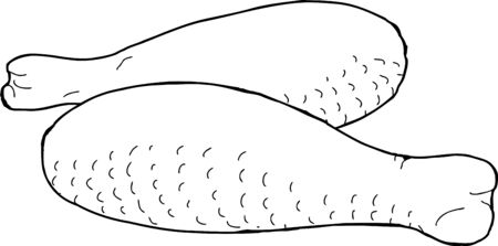 raw chicken: Pair of raw chicken legs as outline illustration Illustration