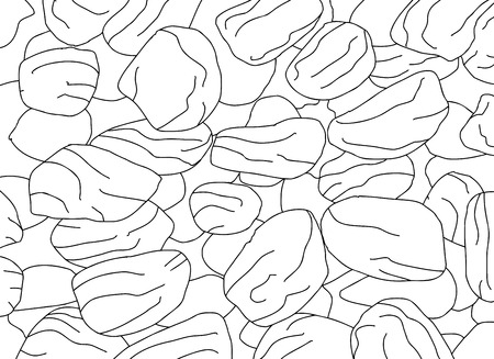 raisin: Closely packed raisins background in outline illustration Illustration