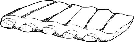 costillas de cerdo: Dibujado a mano ilustraci�n esbozo de costillas de cerdo Vectores