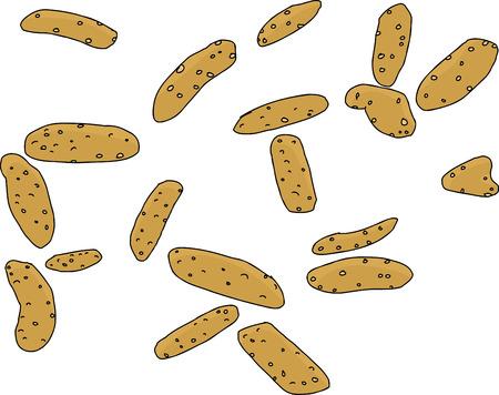 sesame: Cartoon of crunchy sesame sticks snacks over white Illustration