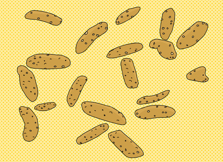 snacks: Cartoon sesame sticks snacks over halftone background