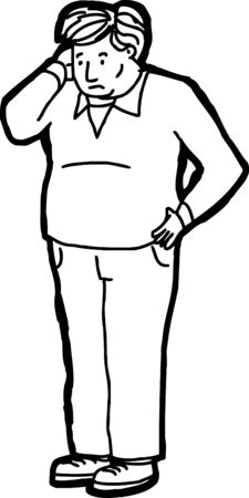 Outline of standing Caucasian man scratching his head