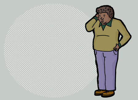 memory loss: Cartoon of forgetful adult male scratching head Illustration