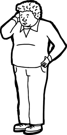 Outline illustration of forgetful adult male scratching head