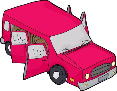 open doors: Hand drawn pink cartoon vehicle with open doors