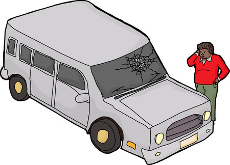 remorse: Automobile with confused driver looking at broken windshield Illustration
