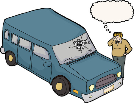 man looking out: Thinking upset man looking at car with broken windshield Illustration