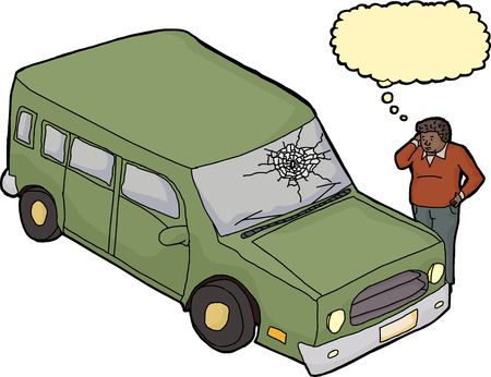 broken window: Sad Black man looking at green SUV with broken window Illustration