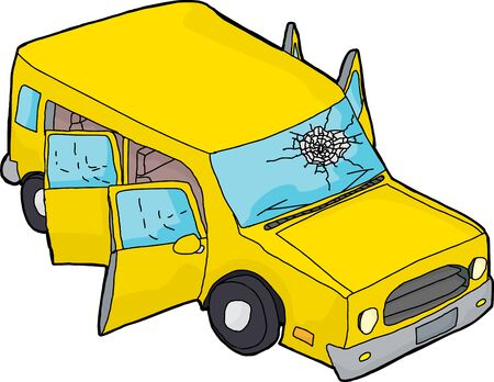windshield: Hand drawn yellow SUV with open doors and broken windshield Illustration