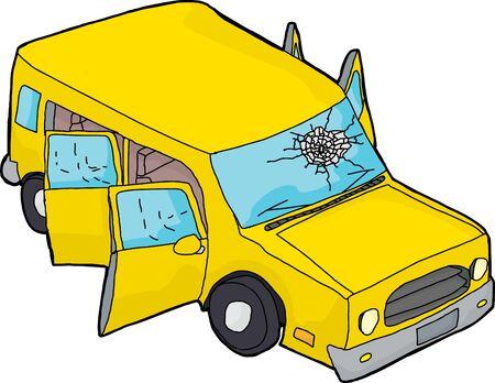 Hand getrokken gele SUV met open deuren en kapotte voorruit Stockfoto - 39188246