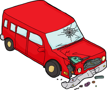 Cartoon of isolated red damaged SUV car on white