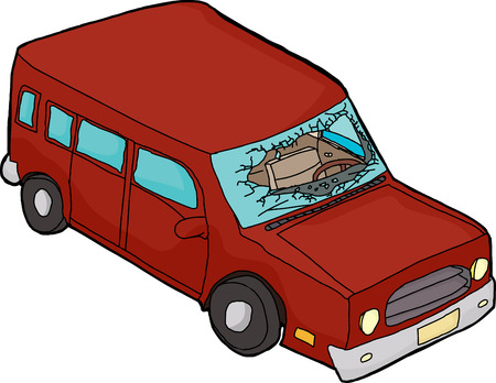 windshield: Isolated red cartoon car with broken windshield