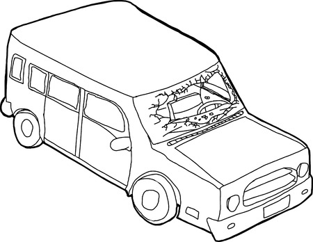 destroyed: Hand drawn cartoon automobile with destroyed front windshield Illustration