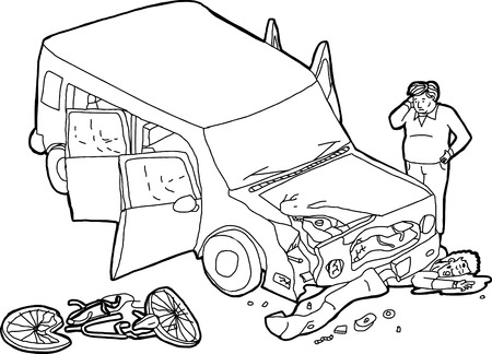 Sorry driver looking at damaged car and bleeding bicyclist Ilustrace