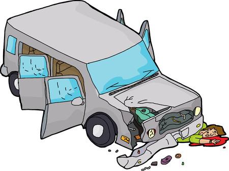Cartoon of bleeding man under damaged SUV car