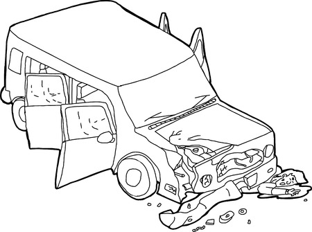 Cartoon of dying man and wrecked SUV car Illustration