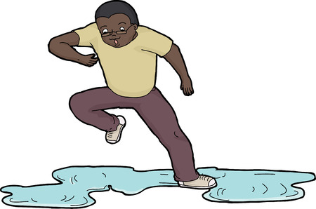 wet men: Isolated cartoon of scared man slipping on wet floor Illustration