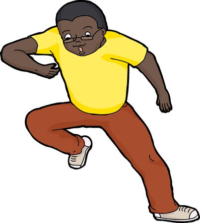 Isolated illustration of single anxious man jumping