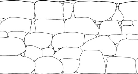 stone wall: Outline illustration of tall rock boundary wall