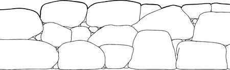 cut short: Outline cartoon of short stone boundary fence