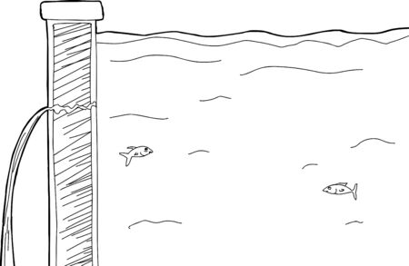 dike: Outline illustration of leaking dyke and swimming fish