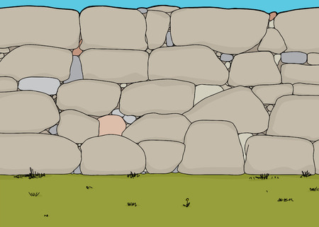 Background cartoon wall of large rocks and boulders