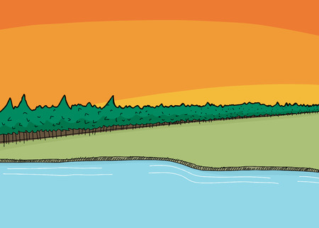 wilderness: Cartoon wilderness background scene of lake and forest