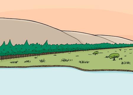 hillside: Sunrise coming over hillside and forest in nature scene Illustration