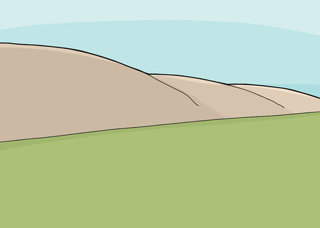 mountainside: Hillside and grassland cartoon wilderness background scene Illustration